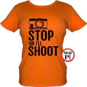 női fotós póló állj vagy lövök narancs