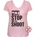 fotós póló állj vagy lövök női pink