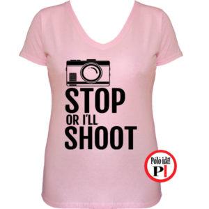 női fotós póló állj vagy lövök piros