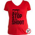 fotós póló állj vagy lövök női piros