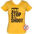 fotós póló állj vagy lövök női citrom