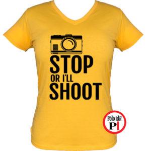női fotós póló állj vagy lövök citrom