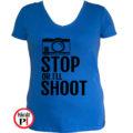 fotós póló állj vagy lövök női kék