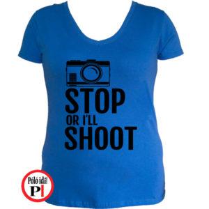 női fotós póló állj vagy lövök kék
