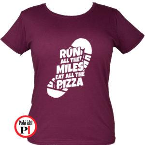futó póló pizza miles női burgundi
