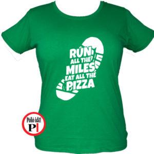 futó póló pizza miles női zöld