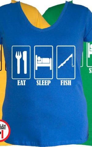 női eat sleep horgász póló