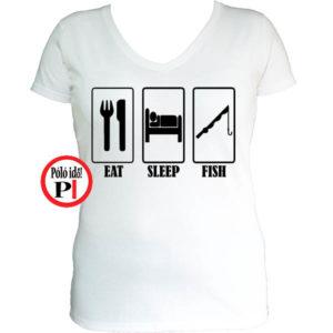 női eat sleep horgász póló fehér