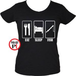 női eat sleep horgász póló fekete