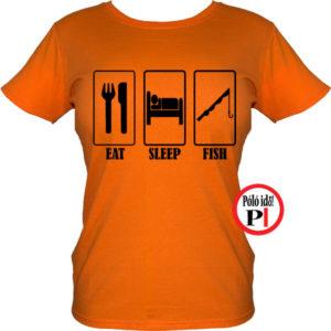 női eat sleep horgász póló narancs