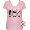 női eat sleep horgász póló pink
