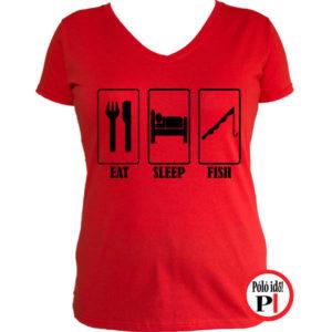 női eat sleep horgász póló piros