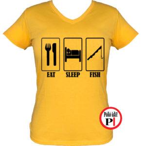 női eat sleep horgász póló citrom