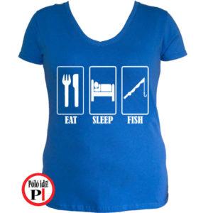 női eat sleep horgász póló kék