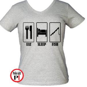 női eat sleep horgász póló szürke
