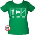 női eat sleep horgász póló zöld