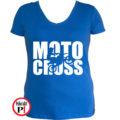 motor póló motocross női kék
