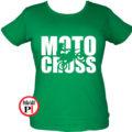 motor póló motocross női zöld