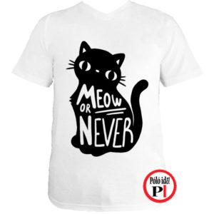 macska póló meow or never fehér