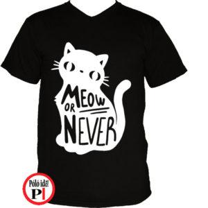 macska póló meow or never fekete