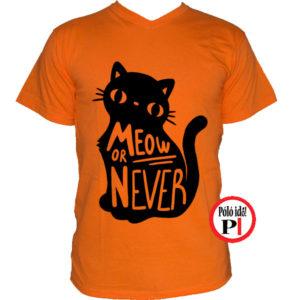 macska póló meow or never narancs