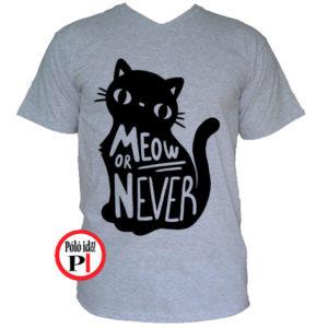 macska póló meow or never szürke