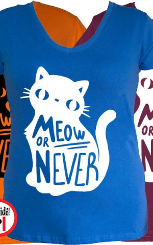macska póló meow or never női