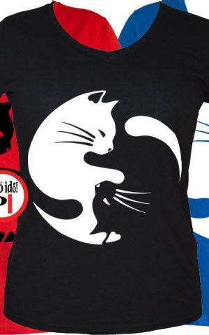 macska póló yinyang női
