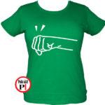 páros póló jobbos női zöld