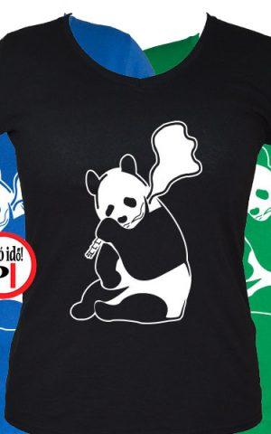 állat póló panda smoke női