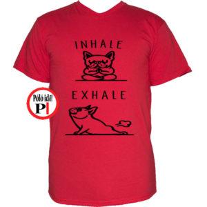 kutya póló inhale piros