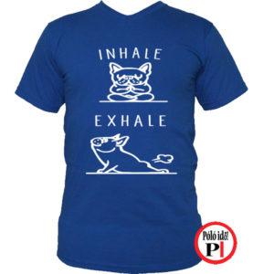 kutya póló inhale kék