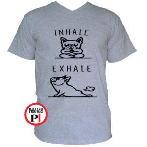 kutya póló inhale szürke