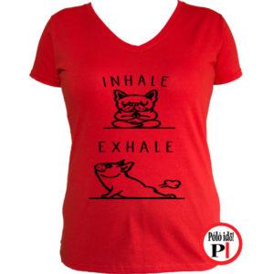 kutya póló inhale női piros