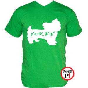 kutya póló yorkie zöld