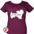 kutya póló yorkie női burgundi