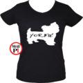 kutya póló yorkie női fekete