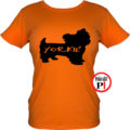 kutya póló yorkie női narancs