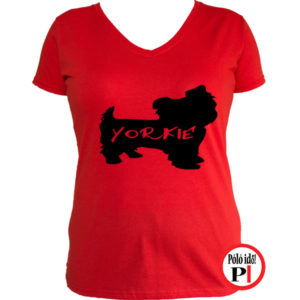 kutya póló yorkie női piros