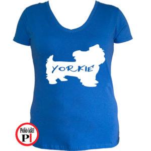 kutya póló yorkie női kék