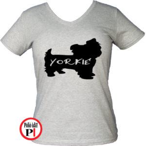 kutya póló yorkie női szürke