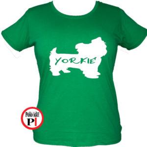 kutya póló yorkie női zöld