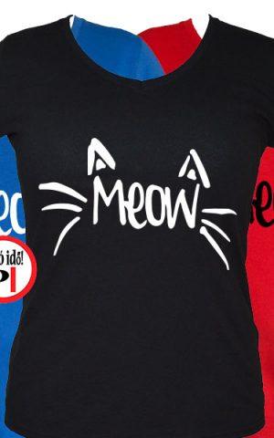 macska póló meow női