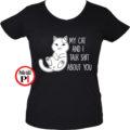macska póló talking shit fekete