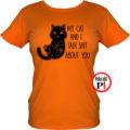 macska póló talking shit narancs