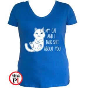 macska póló talking shit kék