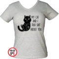 macska póló talking shit szürke