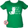 macska póló talking shit zöld