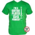 gitáros póló zöld