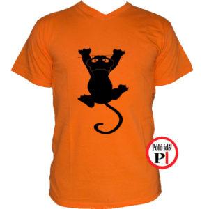 macska póló fal macska narancs